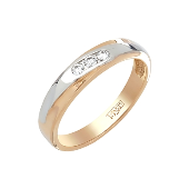 Кольцо с тремя бриллиантами, красное золото