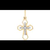 Крест без распятия с бриллиантами, желтое золото