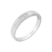 Кольцо с 3 бриллиантами, белое золото