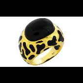 Кольцо Лепард с имитацией оникса, золотым покрытием и каучуковыми вставками, серебро