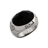 Кольцо Сердечки с имитацией оникса и фианитами, серебро