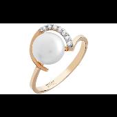 Кольцо с 7 бриллиантами и жемчугом, красное золото