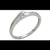 Кольцо с 1 бриллиантом, белое золото