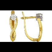 Серьги Бесконечность с бриллиантом, желтое золото