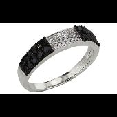 Кольцо Дорожка с чёрными и белыми бриллиантами, белое золото