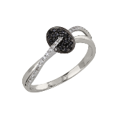 Кольцо дизайнерское с чёрными и белыми бриллиантами, белое золото