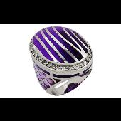 Кольцо овальное без камня с сиреневыми каучуковыми вставками, серебро