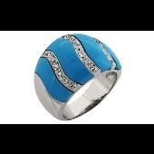 Кольцо с имитацией бирюзы и фианитами, серебро