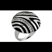 Кольцо с фианитами и каучуковыми вставками, серебро