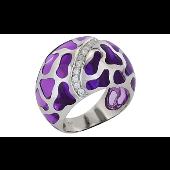 Кольцо Жираф с фианитами и фиолетовыми каучуковыми вставками, серебро