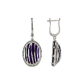 Серьги длинные Зебра с каучуком и прозрачными фианитами, серебро