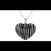 Колье Сердце с каучуковыми прожилками, серебро