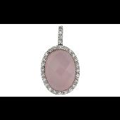 Подвеска с розовым и прозрачным фианитами, серебро