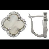 Серьги Четырехлистник с перламутром и фианитами, серебро