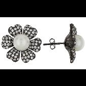 Серьги Ромашка с жемчугом и фианитами, серебро
