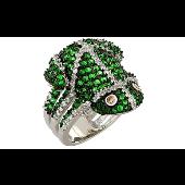 Кольцо Лягушка с зелеными, прозрачными и желтыми фианитами, серебро