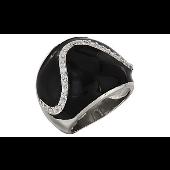 Кольцо с фианитом и ониксом, серебро