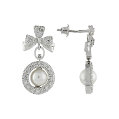 Серьги Бантики с жемчугом и фианитом, серебро