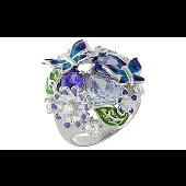 Кольцо Букет с бабочками и ромашками, серебро с цветной эмалью и фианитами
