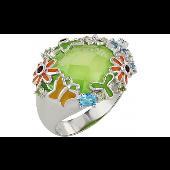 Кольцо Полянка с гранатом, хризолитом, топазом и фианитом, серебро