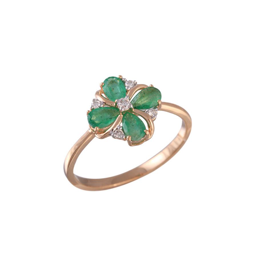 купить Кольцо c бриллиантами и натуральными изумрудами 36-206-R 16.5 в интернет онлайн магазине Лукас-Золото