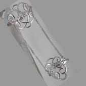 Кольцо на две фаланги ажурное с цепочкой и фианитами, серебро