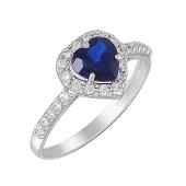 Кольцо Сердце с синим и прозрачными фианитами из серебра
