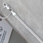Цепь плоская с алмазными гранями из серебра