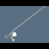 Браслет цепь с подвесками Сердце и Ключик, серебро