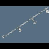 Браслет пиратский с подвесками Череп и Якорь, серебро