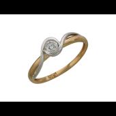 Кольцо Волна с бриллиантом, комбинированное золото