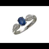 Кольцо с овальным сапфиром, цепь из бриллиантов, белое золото, 585 проба
