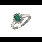 Кольцо с сапфиром Овал и бриллиантами по краям, белое золото, 585 проба