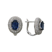 Серьги с овальными сапфирами и бриллиантами, белое золото