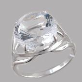Кольцо с круглым горным хрусталем, серебро