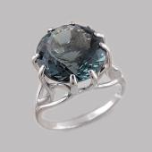 Кольцо с круглым хрусталем, серебро