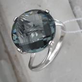 Кольцо с большим круглым хрусталем, серебро