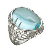 Кольцо с топазом Sky и чешуей, серебро
