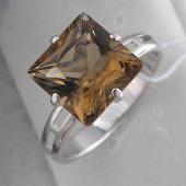 Кольцо с раухтопазом принцесса, серебро