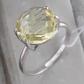 Кольцо с круглым цитрином, серебро