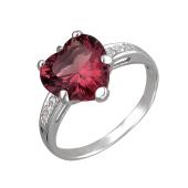 Кольцо Сердце с родолитом и фианитами, серебро