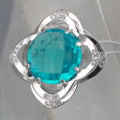 Кольцо с турмалином и фианитами, серебро