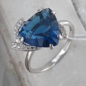 Кольцо с сапфиром и фианитом, серебро