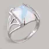 Кольцо с квадратным лунным опалом и фианитами, серебро