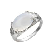 Кольцо с лунным опалом кабошон и фианитами, серебро