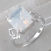 Кольцо с квадратным лунным опалом, серебро