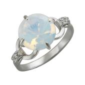 Кольцо с круглым лунным опалом и фианитом, серебро