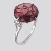 Кольцо с родолитом и фианитами, серебро
