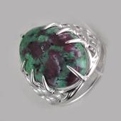 Кольцо перстень с хризопразом (сардониксом, яшмой), серебро