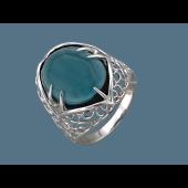 Кольцо с хризопразом (яшмой), серебро